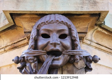 Stratford-upon-Avon. Oct 2018 - The Shakespeare Memorial Statue masks by Lord Ronald Gower