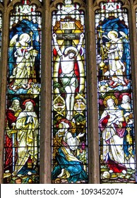 STRATFORD-UPON-AVON, UK - JUNE 8, 2015: Stained glass window in Collegiate Church of the Holy and Undivided Trinity, Stratford-upon-Avon, Warwickshire, England. It is known r as Shakespeare's Church