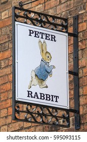 STRATFORD-UPON-AVON, UK - MARCH 2ND 2017: A Peter Rabbit sign above a shop in the historic town of Stratford-Upon-Avon, in the UK, on 2nd March 2017.