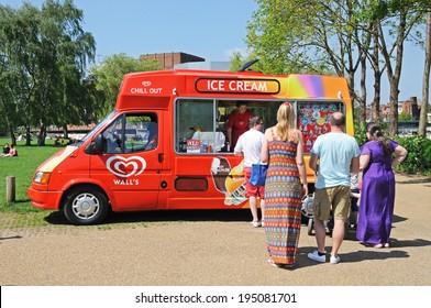 STRATFORD-UPON-AVON, UK - MAY 18, 2014 - People buying ice creams from an ice cream van, Stratford-Upon-Avon, Warwickshire, England, Western Europe, May 18, 2014.