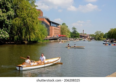 STRATFORD-UPON-AVON, UK - MAY 18, 2014 - Royal Shakespeare Company Theatre along the River Avon, Stratford-Upon-Avon, Warwickshire, England, United Kingdom, Western Europe, May 18, 2014.