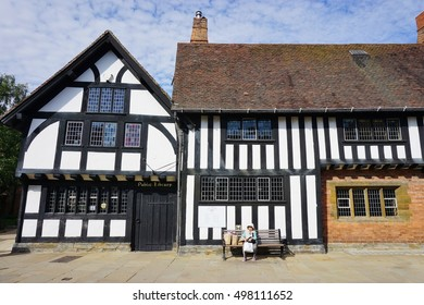 STRATFORD-UPON-AVON, UNITED KINGDOM -27 JULY 2016- The medieval town of Stratford-upon-Avon in the West Midlands in England is the birthplace of author William Shakespeare.