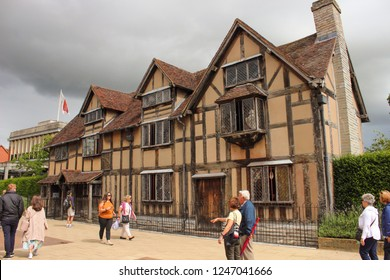 Stratford-Upon-Avon, Warwickshire, England, 21 July 2018: The birthplace of William Shakespeare