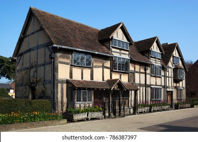 STRATFORD-UPON-AVON, WARWICKSHIRE, ENGLAND - APRIL 19, 2017: William Shakespeare's Birthplace on Henley Street
