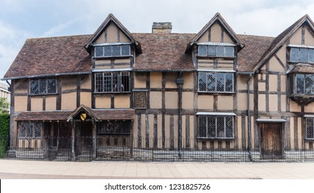 Stratford-upon-Avon, Warwickshire, England - JUNE 10 2018: Shakespeare's Birthplace is a restored 16th-century half-timbered house situated in Henley Street, Stratford-upon-Avon, Warwickshire