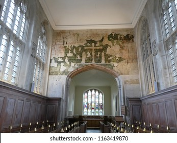 Stratford-upon-Avon, Warwickshire / UK - August 17, 2018: Wall paintings in the Guild Chapel