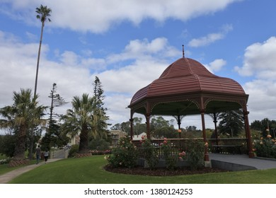 STRATHALBYN, SA - APR 22 2019:Tourist at town Soldiers Memorial Gardens that was settled in 1839 by Scottish immigrants on land that was a meeting place of Peramangk and Ngarrindjeri Aboriginal people