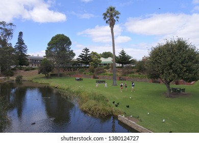 STRATHALBYN, SA - APR 22 2019:Tourist River Angas in Strathalbyn that was settled in 1839 by Scottish immigrants on land that was a meeting place of Peramangk and Ngarrindjeri Aboriginal people.
