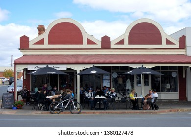 STRATHALBYN, SA - APR 22 2019:Tourist in cafe in Strathalbyn.Strathalbyn was settled in 1839 by Scottish immigrants on land that was a meeting place of Peramangk and Ngarrindjeri Aboriginal people.