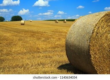 Straw bales on a harvested field in Burgenland / Austria