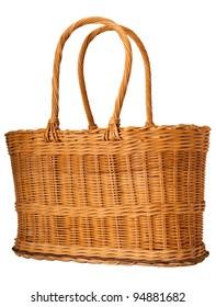 Straw basket on white background