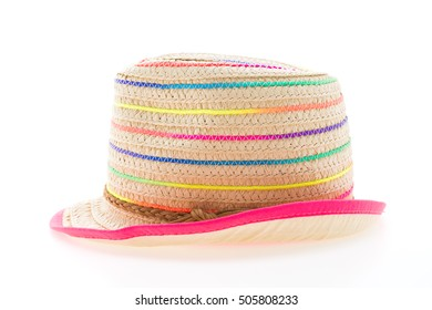 Straw beach hat isolated on white background