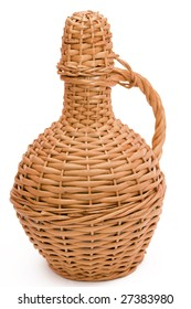 straw bottle of wine isolated on white background