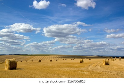 Straw bundles in the plains of the Yonne (Burgundy, France)