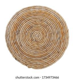 straw carpet round decor isolated on white background. Details of modern boho bohemian and minimal style, eco design interior