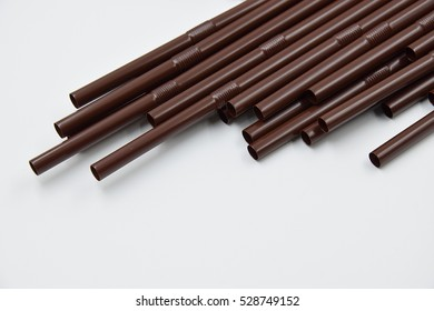 straw coffee color brown with soft focus on white background