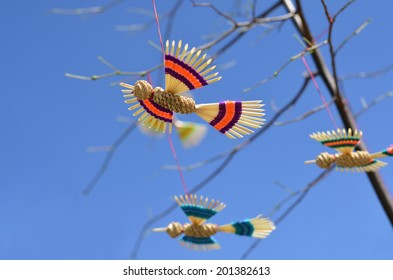 Straw color birds in summer