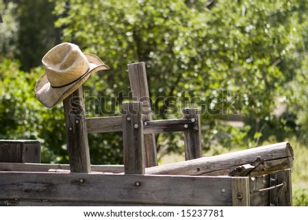 afa78a1e409 Straw Cowboy Hat Hanging Post On Stock Photo (Edit Now) 15237781 ...