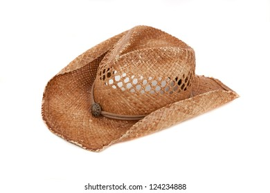 A straw cowboy hat on a white background 07fef50e6aed
