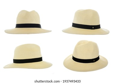 Straw fedora hat isolated on a white background beach hat  four views summer hat