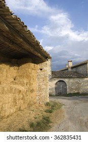 Straw filled barn and farm door at vers sur meouge , Provence, France
