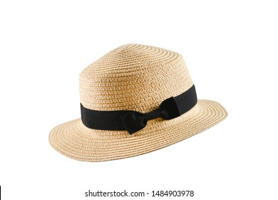 Straw hat with black bow isolated on white background.