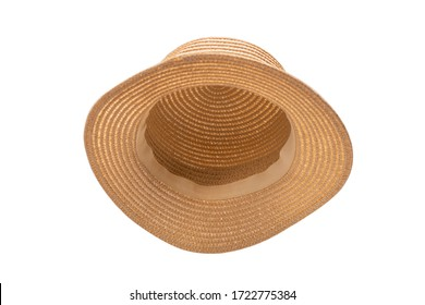 Straw hat with black bow isolated on white background.  - Shutterstock ID 1722775384