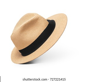 Straw hat with black ribbon on isolated white background