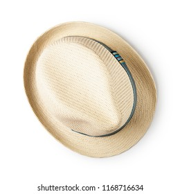 Straw hat with blue ribbon isolated on white background, single object with clipping path. Summer men fashion. Flat lay, top view
