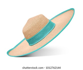 58e949153d2 Straw hat with blue ribbon on isolated white background. Elegant hat with  wide margins.