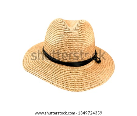 3b7ae481 Straw hat and bow isolated on white background. Summer hats made from  natural material. ( Clipping path ) - Image