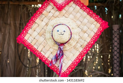 Straw hat with cute face used for decoration at the June Festivals (aka festas de Sao Joao) in Oeiras, Piaui (Brazil)
