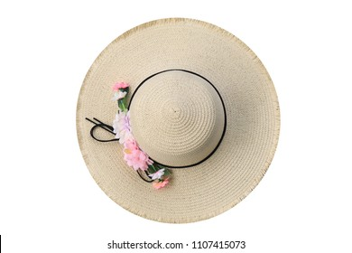 Straw hat isolated on white background.top view