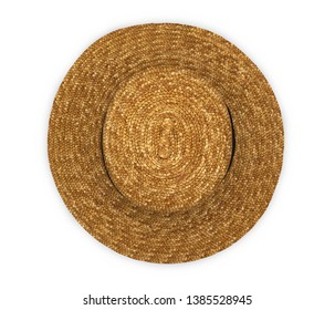 Straw hat isolated on white background. Top view.