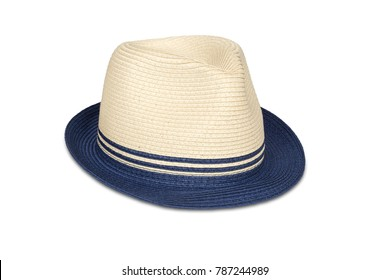 Straw hat isolated on white with clipping path