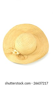 Straw hat on white ground