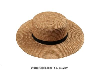 Straw Hat with plain design, wide brim, and a simple black band, worn by Amish farmers, isolated on white background.