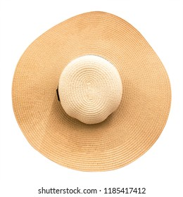 Straw hat with ribbon isolated on white background. Top view of fashion hats in summer style. ( Clipping path )