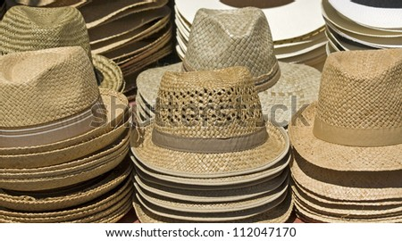 Stand Stock On Straw Now112047170 Hat Sale Photoedit Market HIW9E2YD