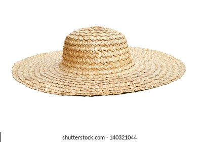 Straw hat side view isolated on white