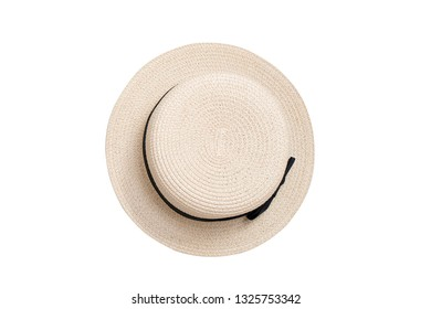 Straw hat. Top view. Isolate on white background