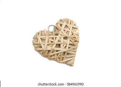Straw heart on a white background