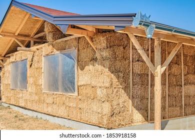 Straw house. Eco friendly home
