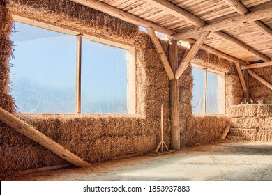 Straw house. Eco friendly home. Inside view