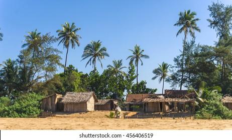 Straw huts at Gokarna beach in India