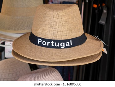 A Straw Panama Style Souvenir Sun Hat For Sale With Portugal On The Front Display In A Tourist Shop Albufeira Portugal