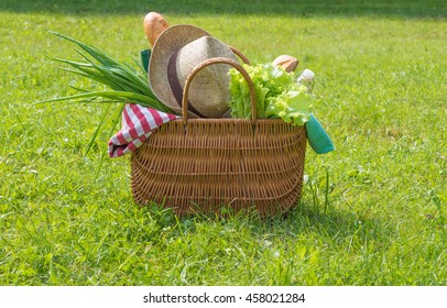 Straw picnic basket with food and drinks on green grass