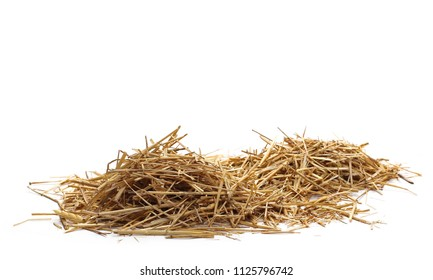 Straw pile isolated on white background and texture