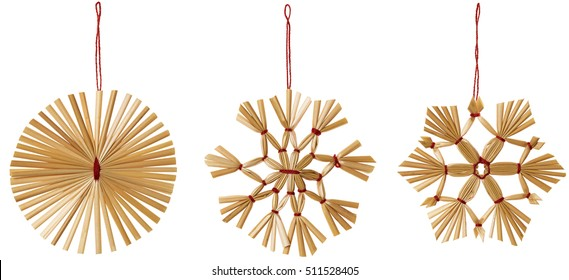 Straw Snowflake Hanging Decoration, Strawy Snow Flake Christmas Hang Toy Set, White Isolated