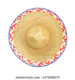 Straw Sombrero isolated on a white background, top view